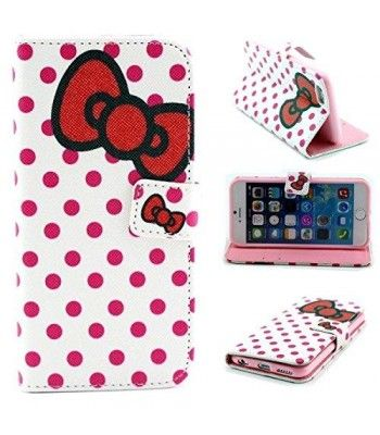 yw (tm) magnetic pu leather flip card slots hybrid stand case cover for apple iphone 6 4.7 inch with one piece random color stlye dress up sticker gift - polka dots bowknot