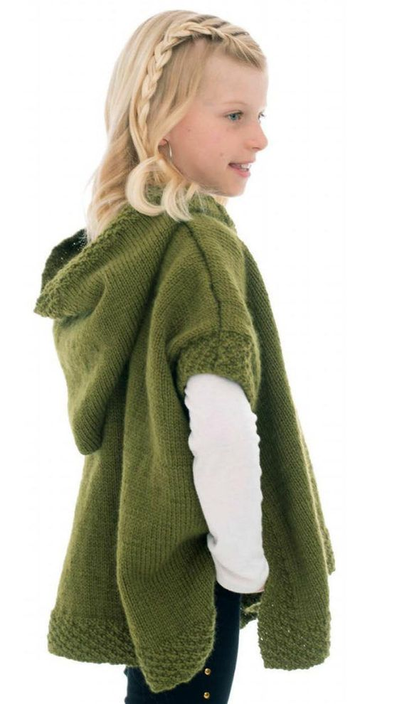 Free Knitting Pattern for Hooded Poncho | Ponchos o capas niña ...