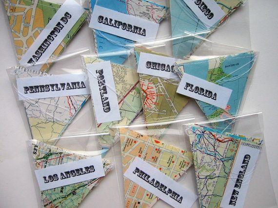 Großhandel - 10 Karten-Banner - Vintage Karte Bunting - Going Away Party Dekorationen - Great für Weiterverkauf - Klassenzimmer-Dekorationen - Road Trip Dekor