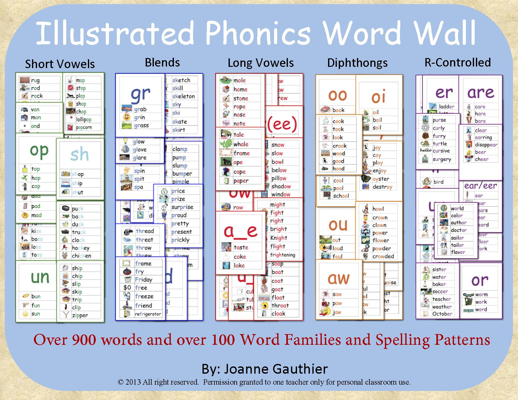 Complete Phonics Word Wall Short Vowels Long Vowels Blends