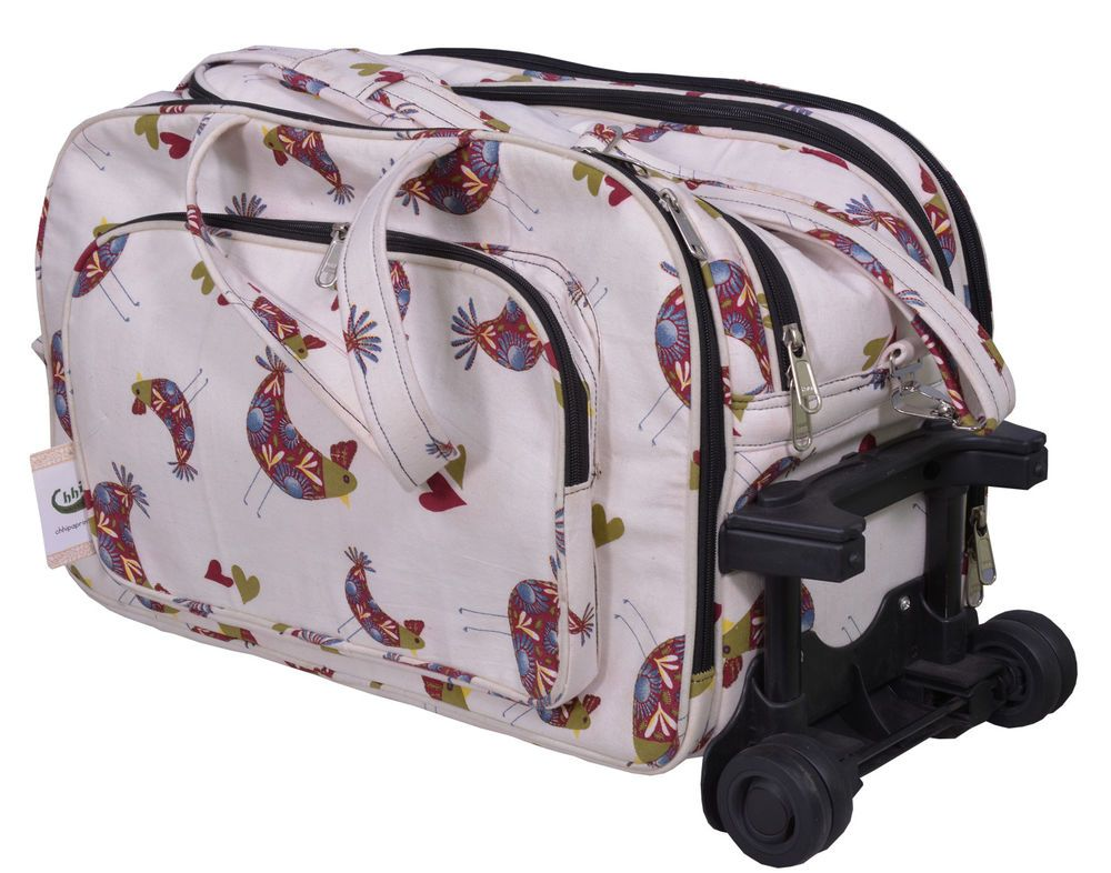 100% COTTON CANVAS ONE HANDED TAB HANDLE WITH PUSH BUTTONS TROLLEY BAG #Chhipaprints #TrolleyBag