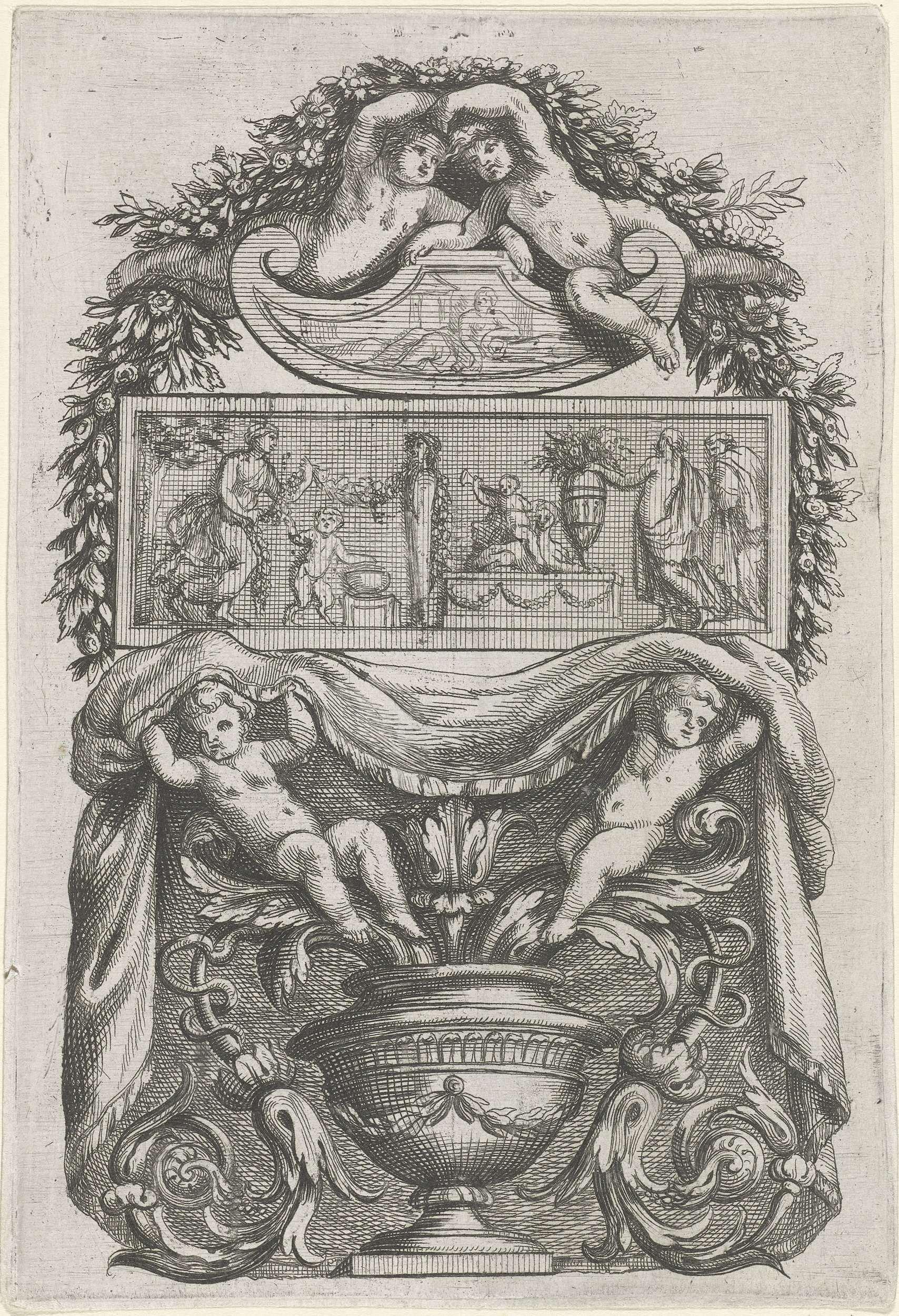 Antoine Pierretz (le jeune)   Plaat met reliëf tussen schild en vaas, Antoine Pierretz (le jeune), 1661   Bovenaan een schild waarop twee putti zitten, onderaan een vaas waarop twee putti zitten die een doek vasthouden. Uit serie van 12 bladen met ornamentele panelen opgebouwd uit medaillons, tabletten, friezen, sarcofagen, vazen, schilden, guirlandes, klimplanten en putti, geplaatst langs een verticale as. Uit eerste editie.