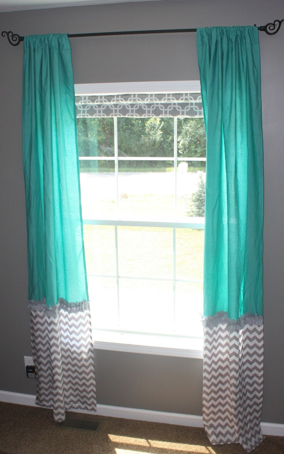Teal Widow Curtains with Gray & White by ...