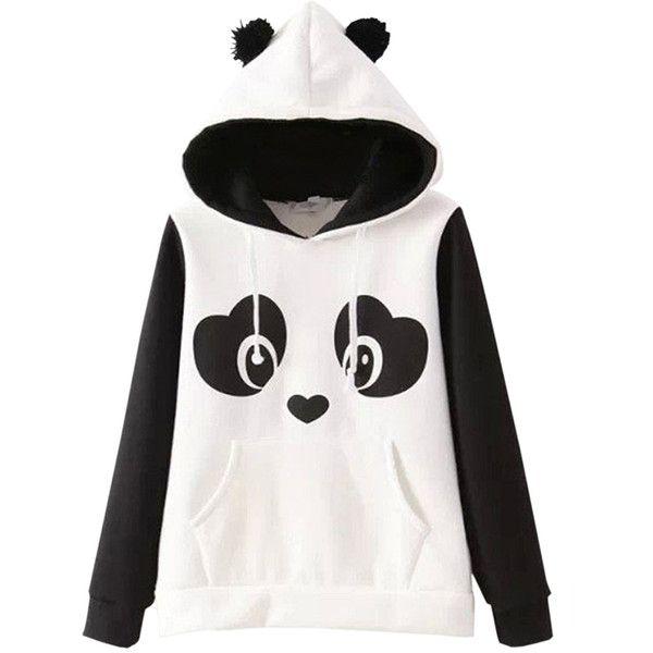 Winter Cute Hairball Panda Animals Hoodies Thicken Fleece ...