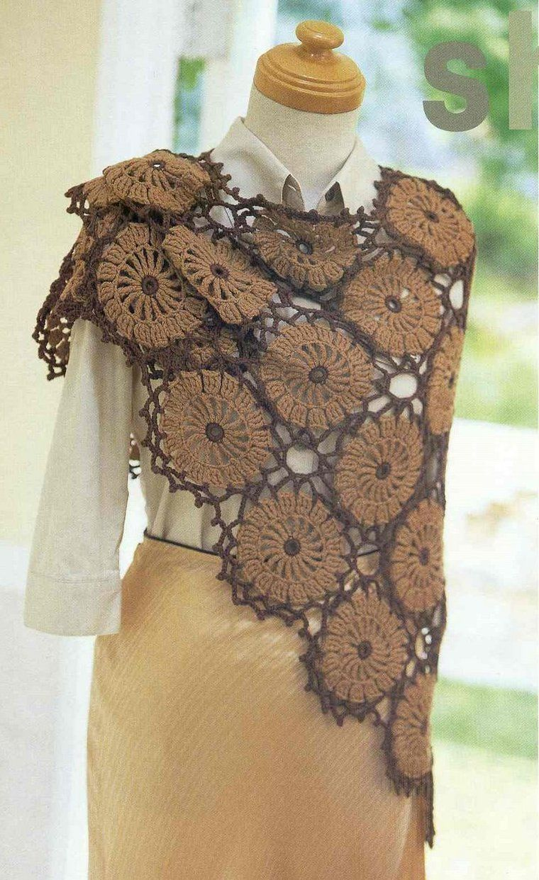 Share Knit and Crochet: Dark brown shawl crochet pattern