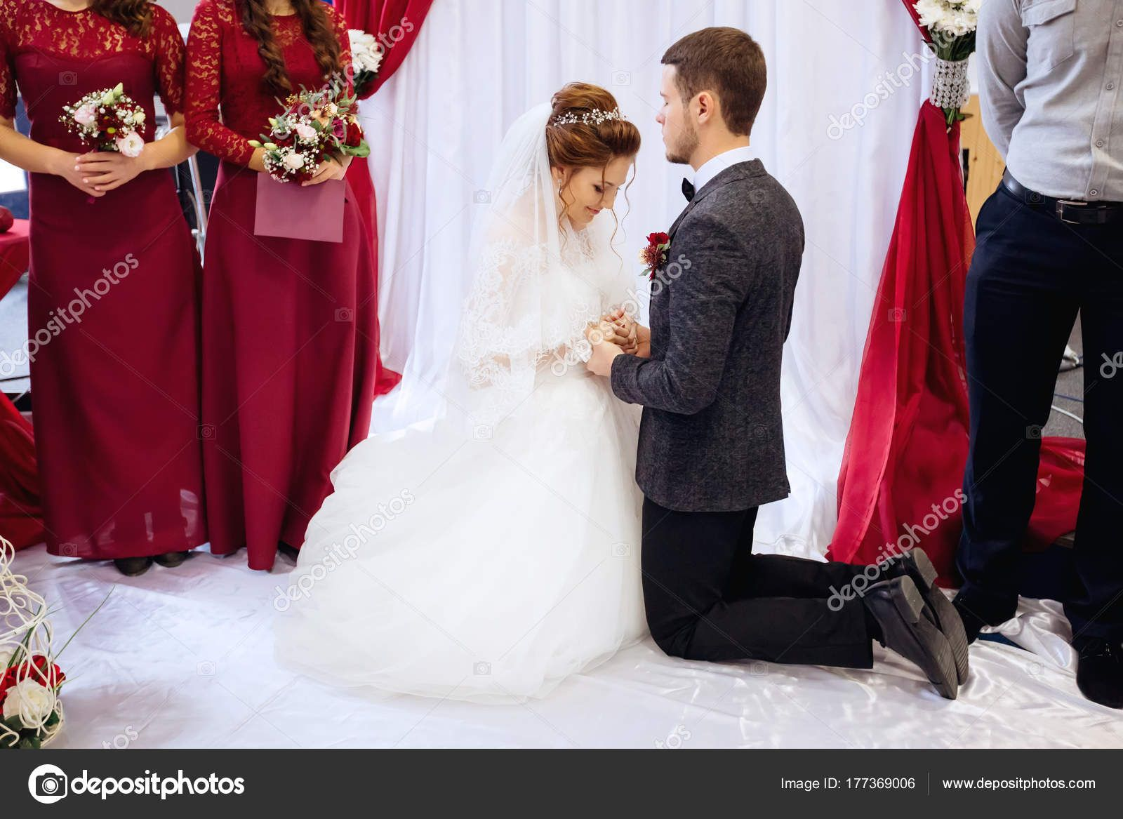 Maybe Something Like This During The Ceremony But Only I Kneel Of Course That Will Make Him Taller For A Change Dresses Ceremony Wedding Dresses