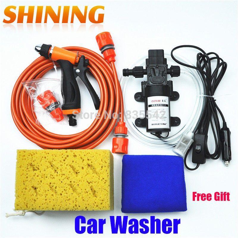 Free Shipping Dc 12v Electric 60w High Pressure Portable Car Washer Washing Machine Car Wash Washing Pump Tool Kit Fr Portable Car Washer Car Washer Car Wash