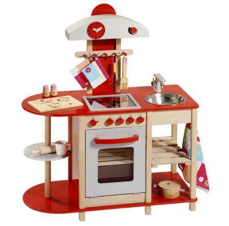 Cocina Madera infantil natural y roja-plateada | cocinas de juguete ...