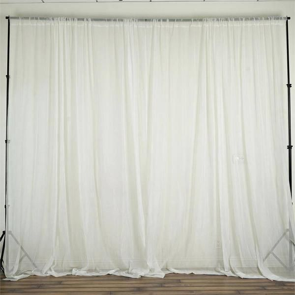 10FT Fire Retardant Ivory Sheer Voil Curtain Panel Backdrop