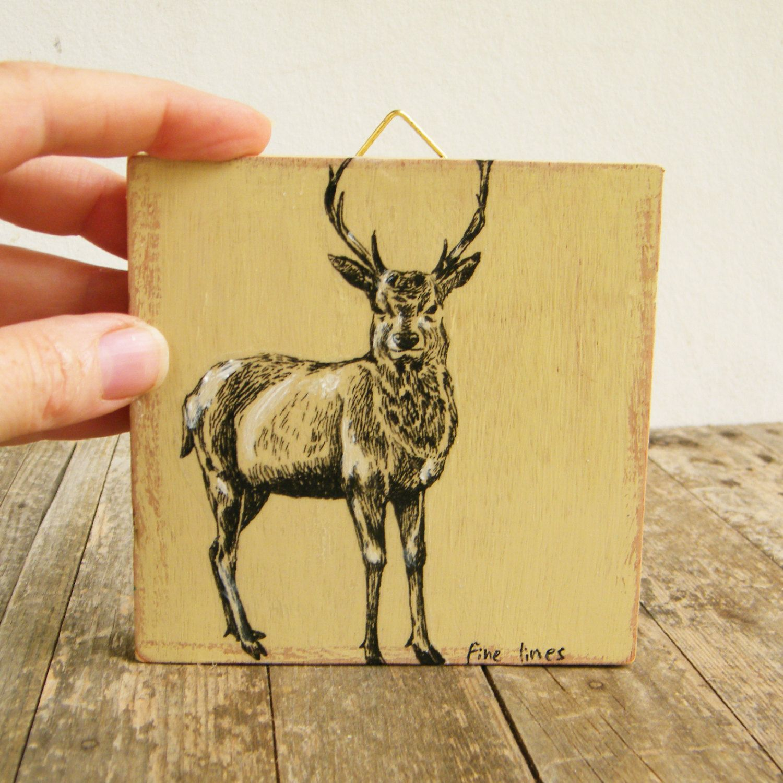 Miniature painting - deer print, print on wood, Home decor, Wood ...
