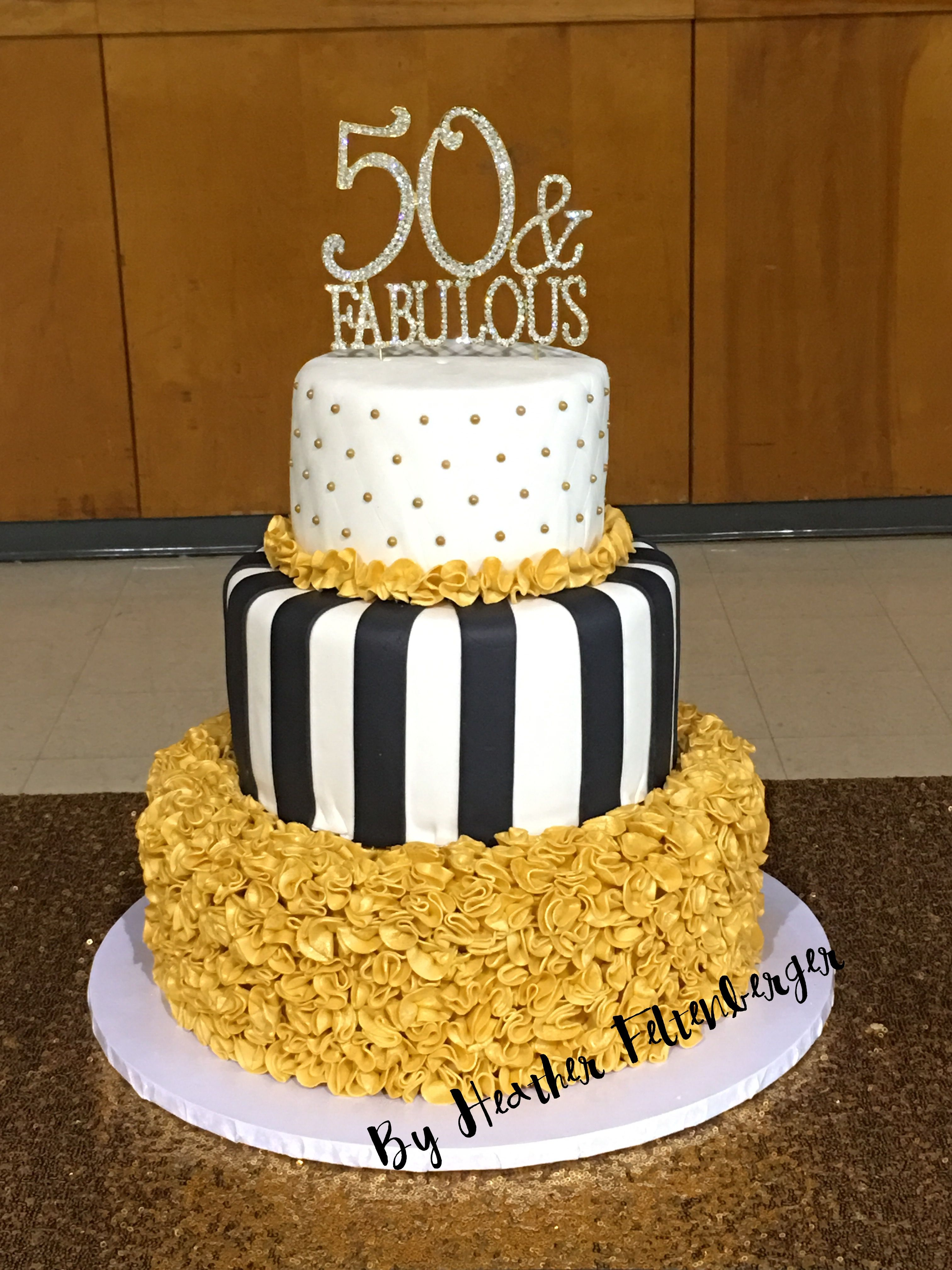 3 Tier 50th Birthday Ruffle Cake Black White And Gold