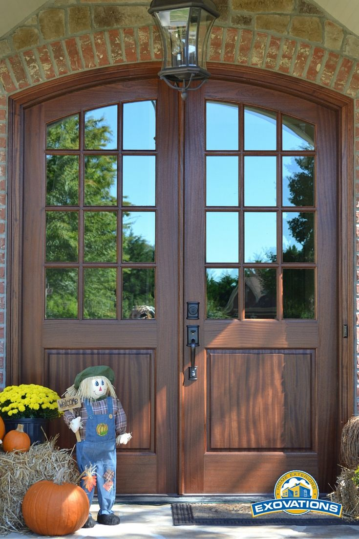 Gorgeous Custom Mahogany Double Front Doors With Radius Top.
