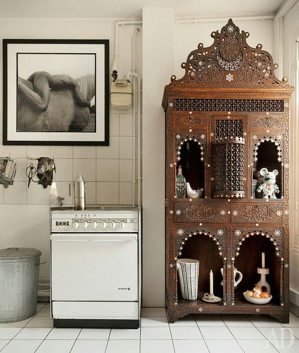 Love This Syrian Cabinet With Richly Decorated Carvings And Niches In A  Paris Apartment. Decorated