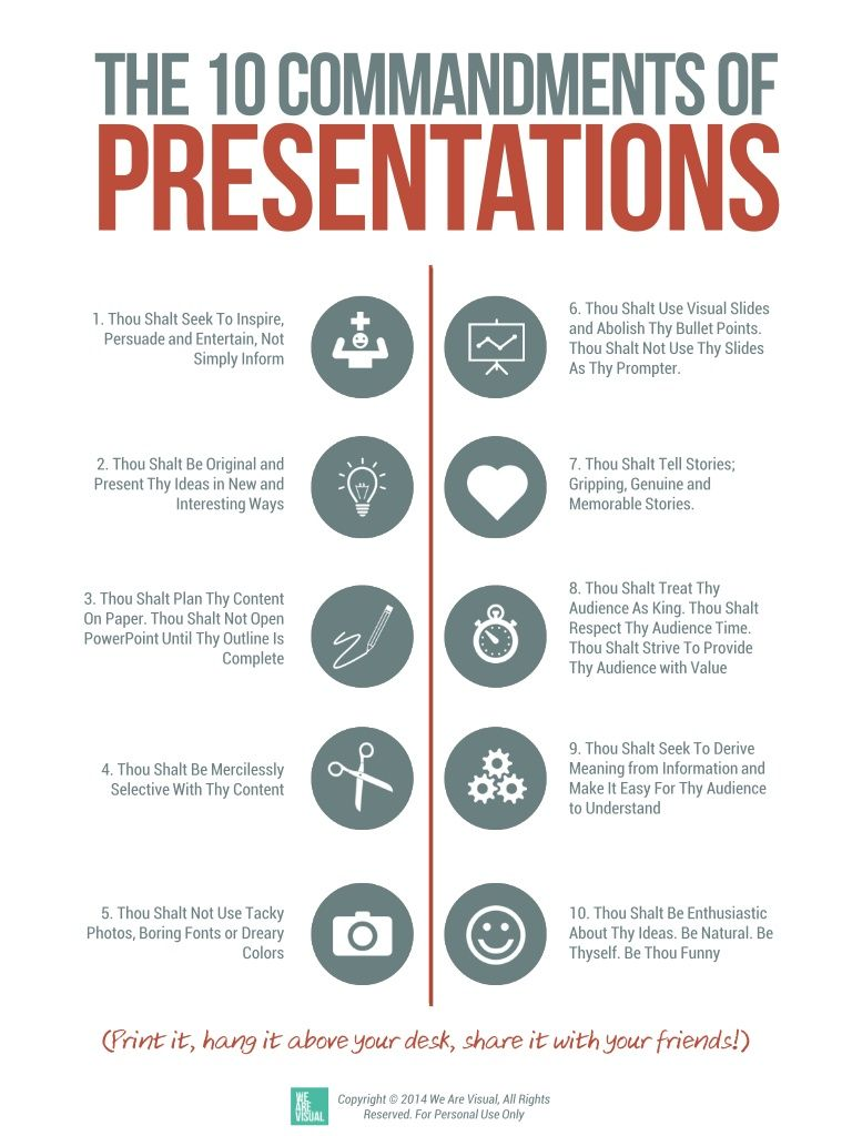 The Ten Commandments Of Presentations Free Tool By We Are Visual By Nadine Hanafi Via Slideshare Professionele Ontwikkeling Studievaardigheden Scriptie