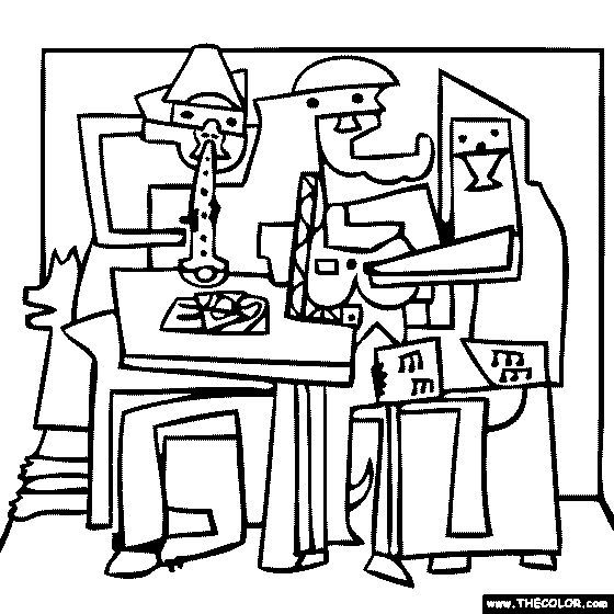 Three Musicians Picasso Coloring Picasso Coloring Picasso