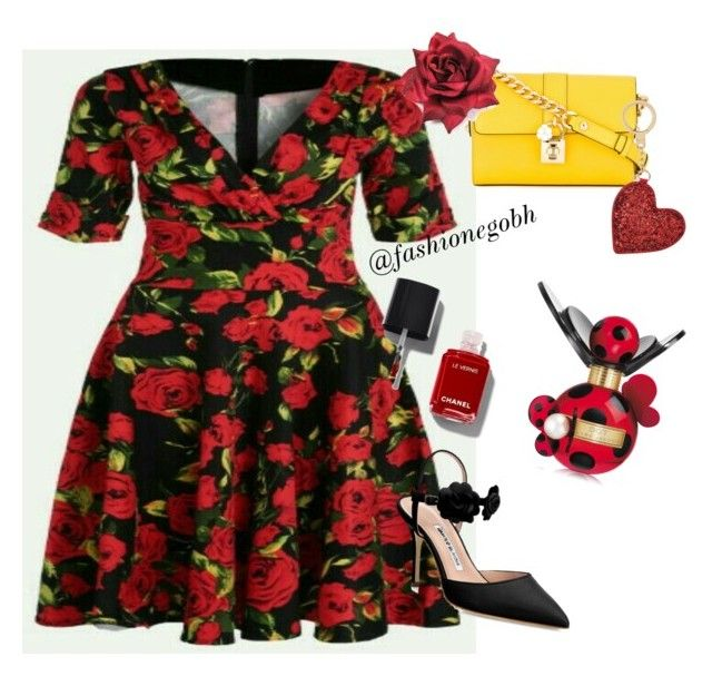 """""""Roses  are red!"""" by lightbird on Polyvore featuring Dolce&Gabbana, Kate Spade, Marc Jacobs and Manolo Blahnik"""