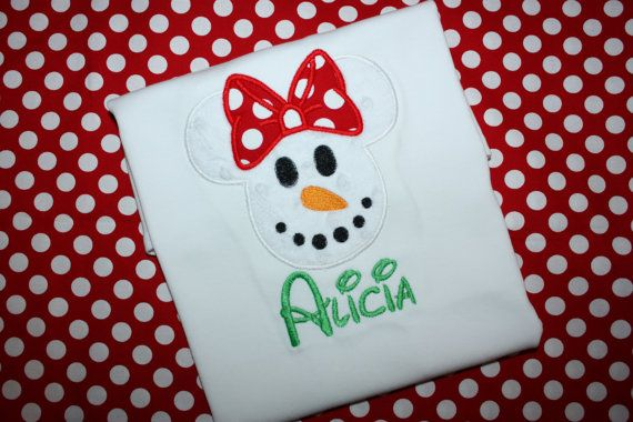 Mickey-snowman-appliqued-shirts