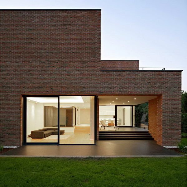Architecture Awesome And Outstanding Brick Home Designs In Modern Style With Large Glass Windows Modern Brick House Minimalist House Design Architecture House
