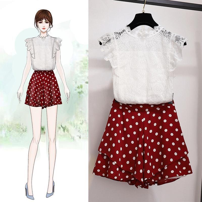 Sweety Lace Shirt + Chiffon Shorts Set #chiffonshorts Sweety Lace Shirt + Chiffon Shorts Set – Orchidmet