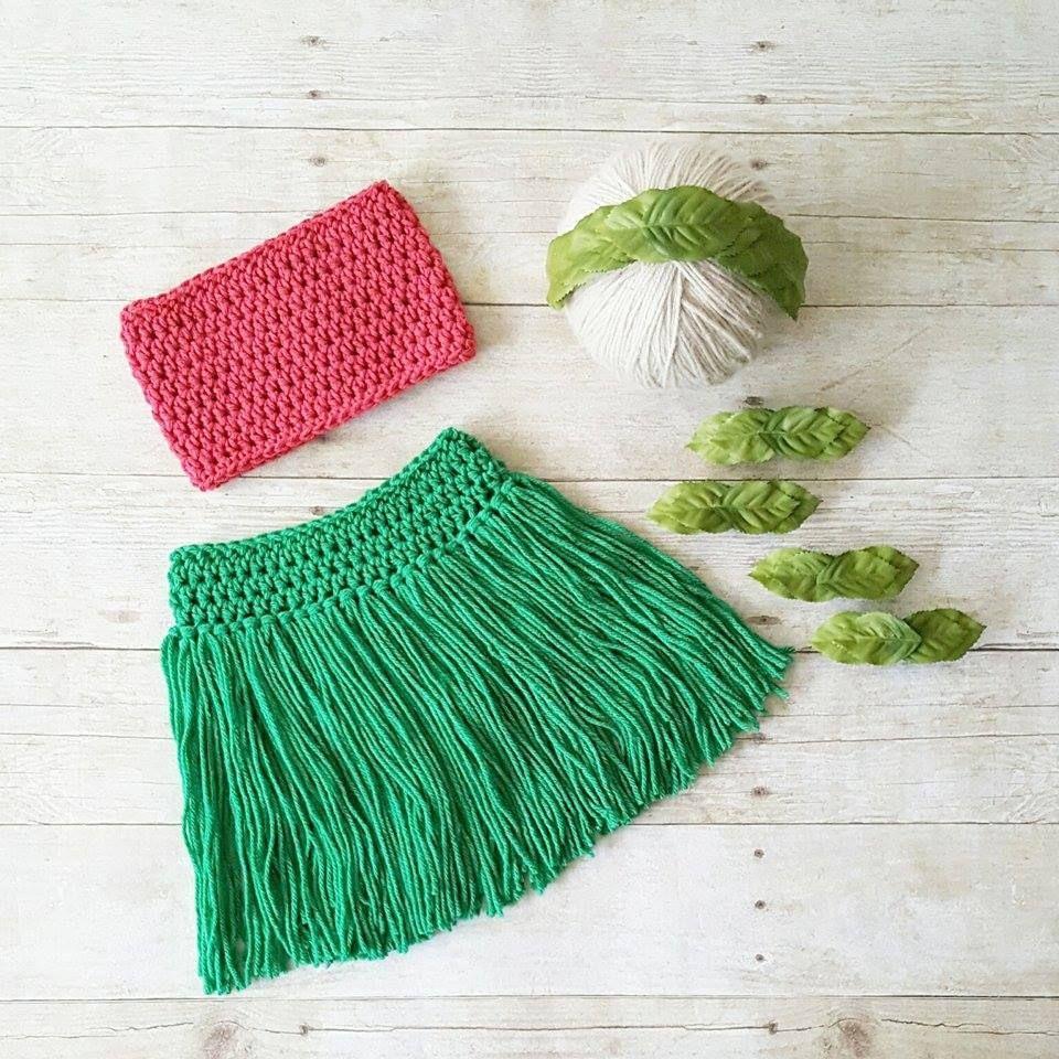 Crochet Lilo Hawaiian Hawaii Hula Dancer Girl Grass Skirt Tube Top ...