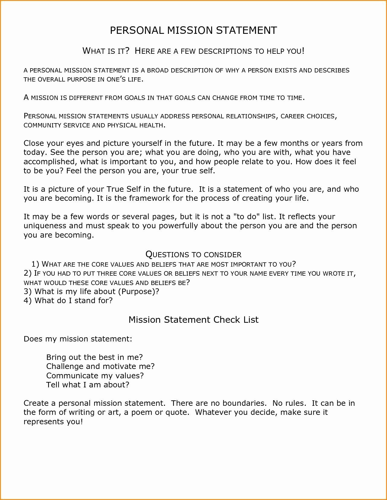 Mission Statement Example For Student Elegant Personal State Vision Counselor