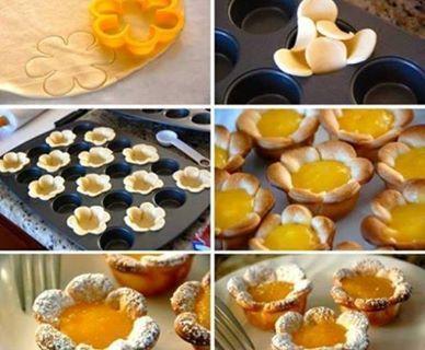 1. Unroll the frozen dough and leave it for half an hour at room temperature. Start by cutting flowers with the cookie cutter. 2. Place each flower inside the hollow cupcakes form. 3. Make holes with a fork in each of the funds of the tart dough still raw, twice the times. Bake at 180 degrees for about 5-7 minutes or until golden.After cooling remove to a plate. 4. Fill each flower with lemon mousse.
