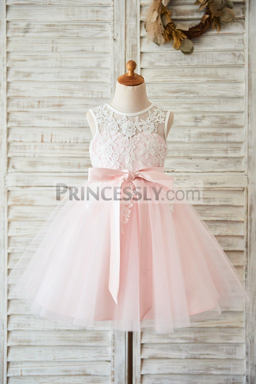 7f5fc6471ded Ivory Lace Pink Tulle Wedding Flower Girl Dress with V Back
