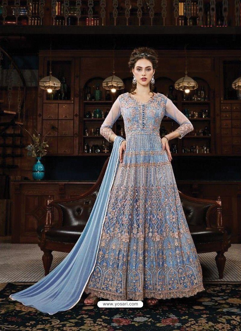 979ccfa9a9 Awesome Blue Embroidered Designer Anarkali Suit in 2019   Anarkali ...