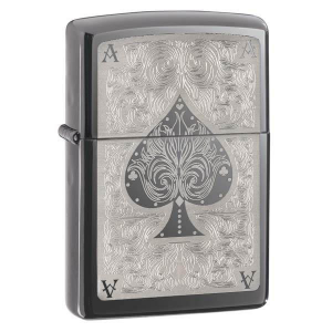 Black Ice, Ace of Spade. Black Ice Ace of Spades Zippo Lighter. Packaged in an environmentally friendly gift box. Lifetime Guarantee. Fill with Zippo premium lighter fluidFEATURES Material:  Chrome Color:  Black Ice Image:  Ace of Spades Filled:  No Fuel Type:  Lighter Fluid