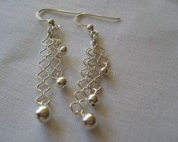 Sterling Silver ZigZag and ball Drop Earrings