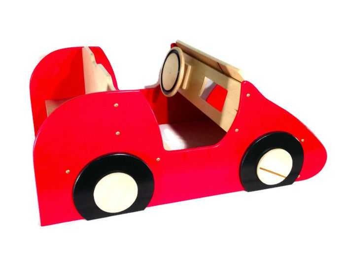 Lil Red Coupe Race Car Bookshelf Made From Birch Plywood Front Is A To Fit Toddler Thick Board Books Kids Racecar