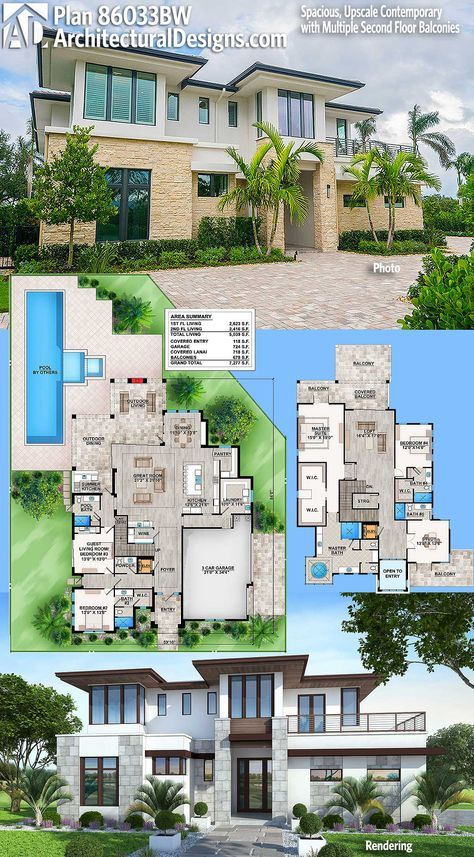 Plan 86033bw Spacious Upscale Contemporary With Multiple Second Floor Balconies Modern House Plans Contemporary House Plans House Plans