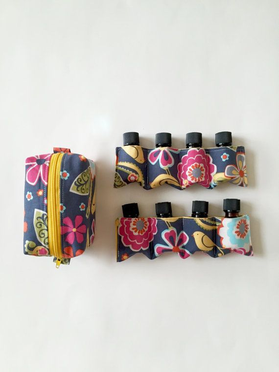 Fabric Essential Oil Carrying Case X2 With Yellow By Lovelysewing