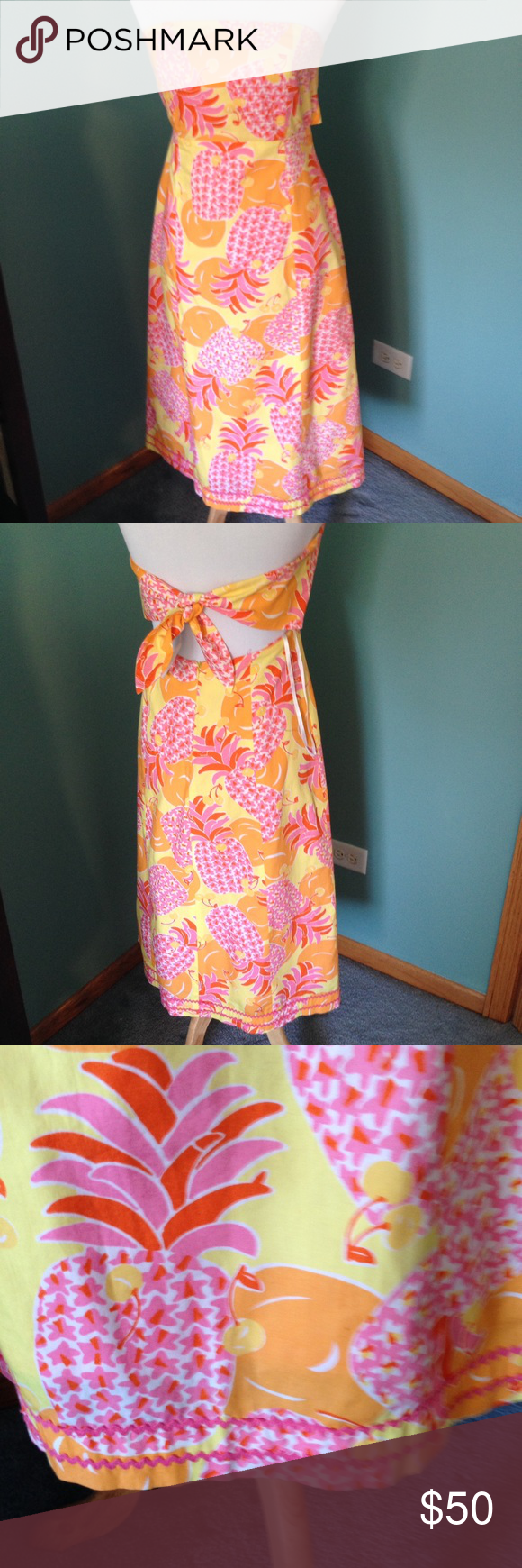 "Lilly Pulitzer dress Pineapple designed dress, strapless, tie back & zip closure. Very good condition. Length 36"" Lilly Pulitzer Dresses Strapless"