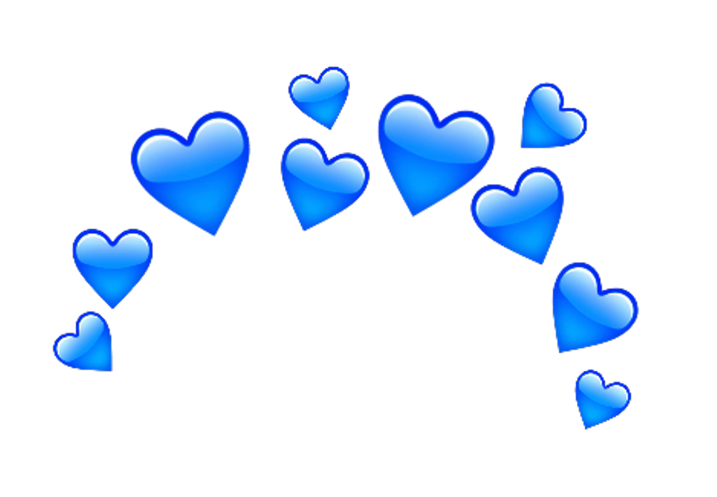 Love Amor Emoji Sticker Crown Corona Heart Corazon Blue Blue
