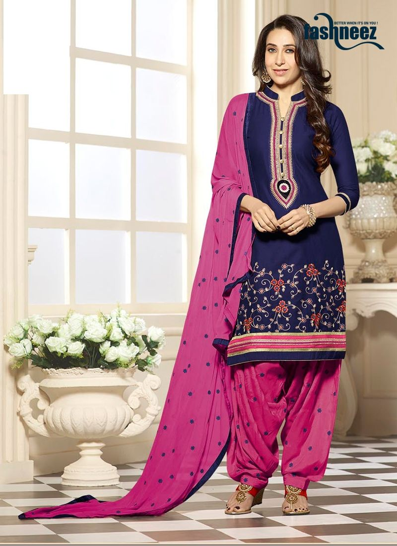 3d4a3b8faf Create a smoldering impact by this Karishma Kapoor navy blue cotton designer  patiala salwar kameez. Beautified with patch border and embroidered work  all ...