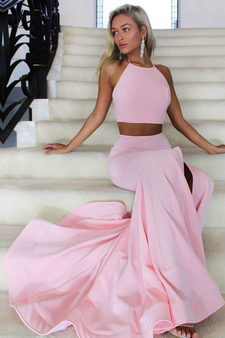 Two piece halter backless sweep train pink prom dress with split