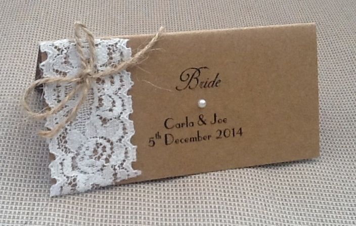 Vintage Burlap /& Lace Wedding Table Seating Name Place Cards