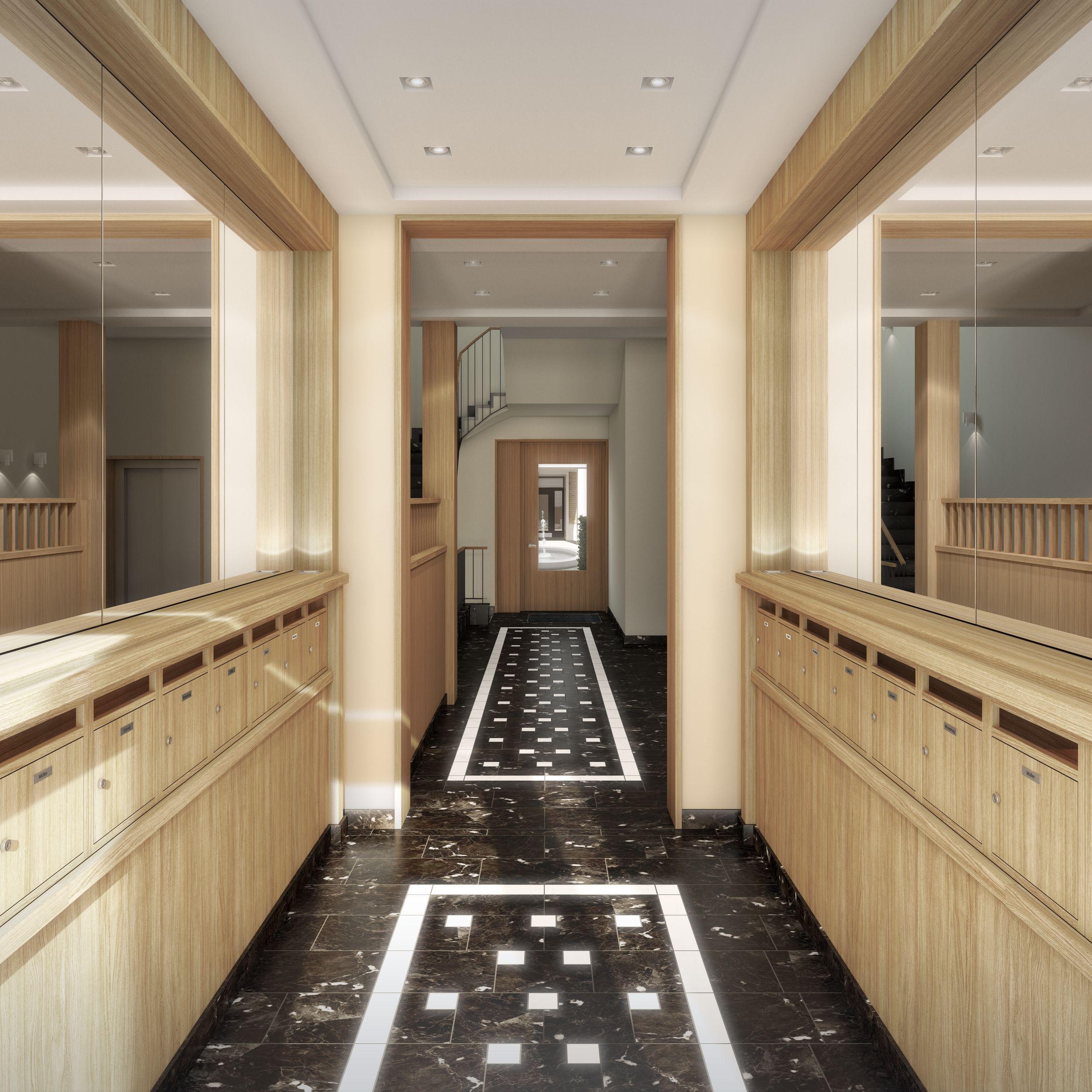 Foyer Planung Berlin 3dsmax Vray Eigentumswohnung Wohnen Penthouse Wohnung