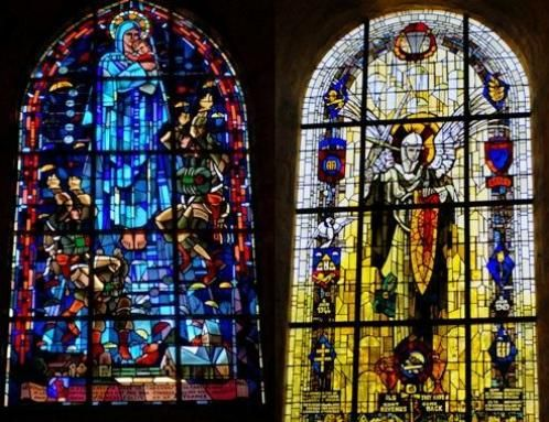 http://northshorejournal.org/LinkedImages//2009/06/stained-glass-windows-honoring-american-paratroopers.jpg  in Sainte Mere Eglise, France church
