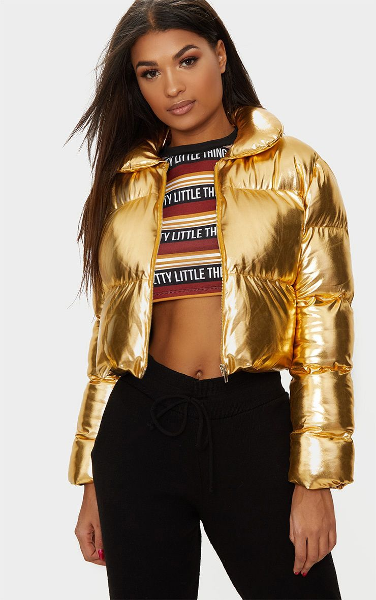 Image Result For Gold Metallic Puffer Jacket Cropped Puffer Jacket Puffer Jackets Jackets [ 1180 x 740 Pixel ]