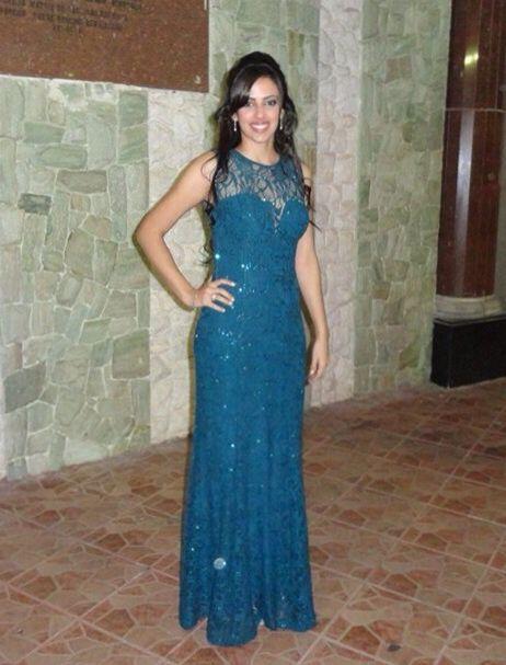 Look vestido azul petroleo