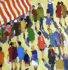 August 2015 new arrival by Caudron. Crowds of people surround a tent. Is it a farmer's market, an arts and crafts show? You decide. See others by Caudron: http://westportrivergallery.com/dr-caudrons-french-diabetes-physician-paintings-are-based-on-a-perfect-match-between-the-diverse-structures-of-motifs-t.html