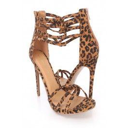 Leopard Open Toe Strappy Ankle Summer Cute Single Soles Faux Leather