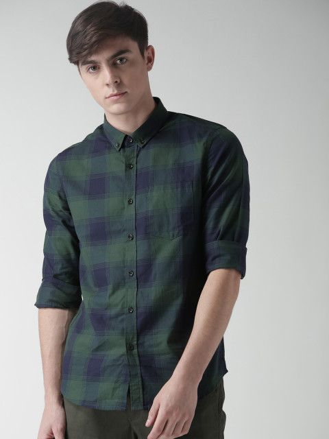 Buy FOREVER 21 Men Green & Navy Checked Casual Shirt - Shirts for Men | Myntra