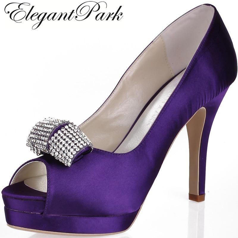 Women Purple High Heel P Toe Rhinestone Platform Pumps Satin Bridesmaid Lady Evening Party Dress Wedding Bridal Shoes Ep11061