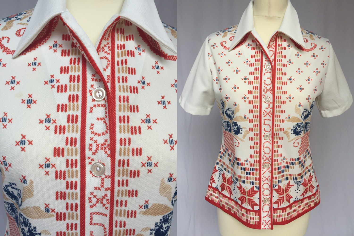 216ac87a0544 70 s Slovenian Motive of Embroidery short sleeve Blouse