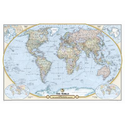 National Geographic Maps NGS Th Anniversary World Map Material - National geographic travel map