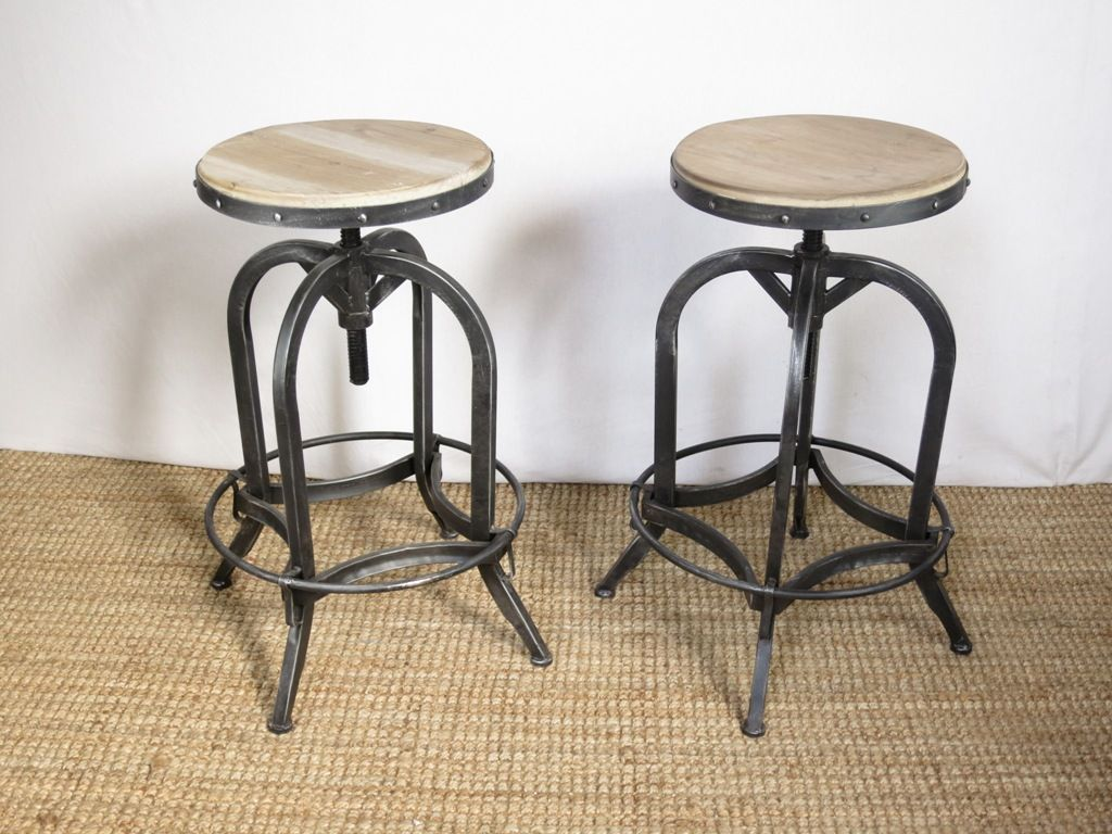 Interior Cool Vintage Industrial Bar Stools With Backs From All About Vintage Bar Stools