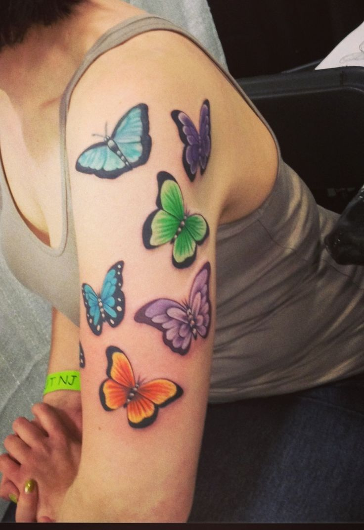 Butterfly half sleeve i need more tattoos pinterest for Butterfly tattoo arm designs
